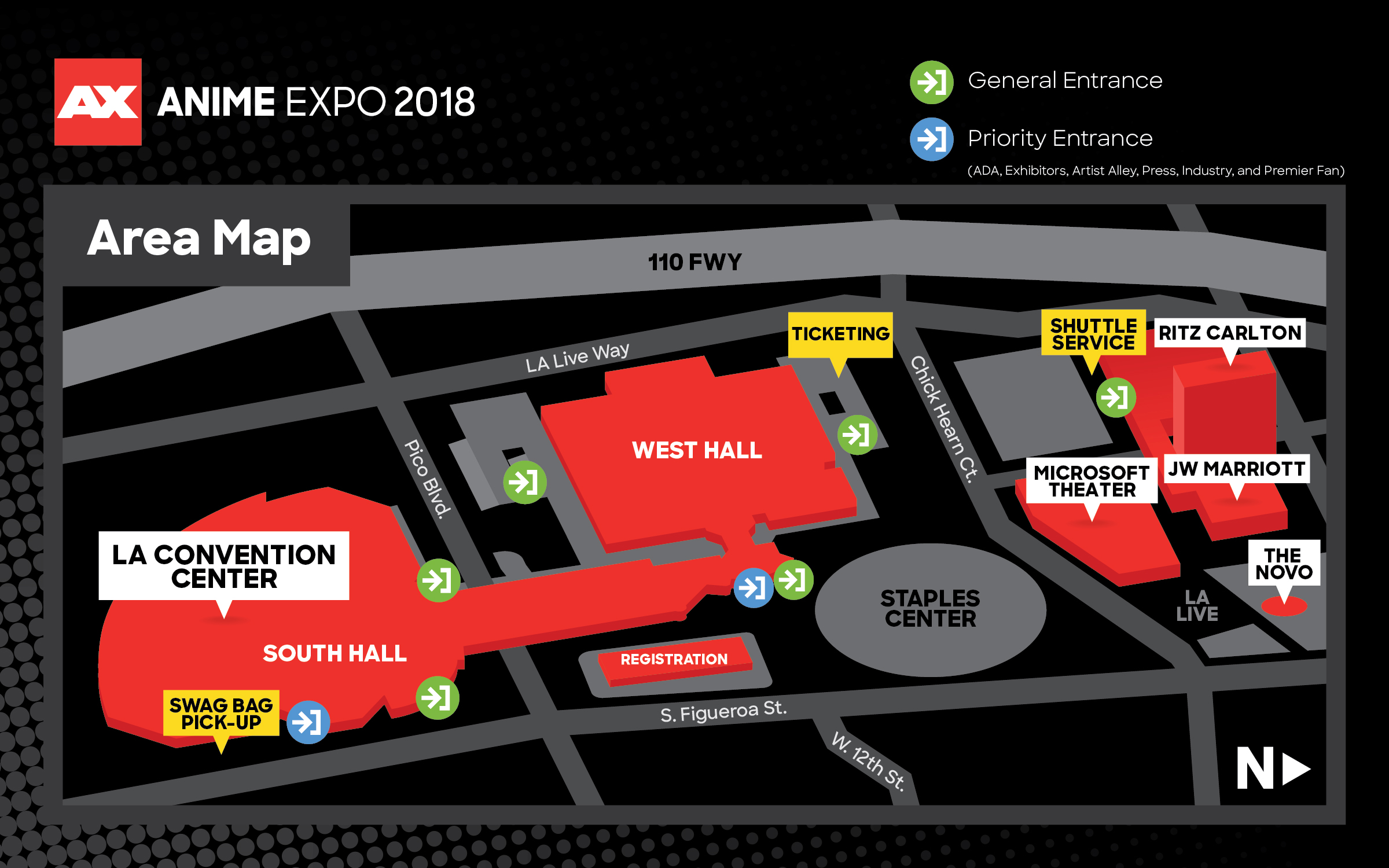 First Please See The Map Below To Where All Venues Being Used For Anime Expo 2018 As Well Important Locations Such Entrances